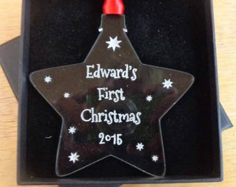 Personalised New Baby First Christmas Tree Ornament Crystal Clear Acrylic