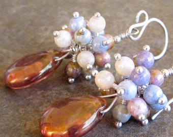 Pink Czech Fire Polished Glass Beads Sterling Silver Cluster Earrings On Sale