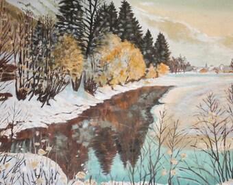 Vintage oil painting winter landscape