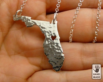 FLORIDA Handmade Personalized Hammered Fine Silver .999 Necklace in a gift box