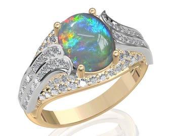 10x8mm Australian Black Opal Ring w/ 0.67ct Diamond in 14K or 18K Gold 2.42TCW Sku: R2442