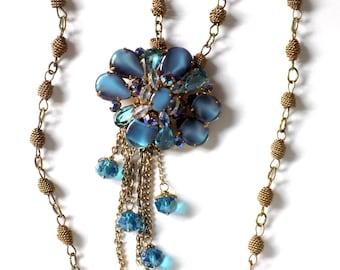 Vintage Repurposed Necklace from Antique Aqua Broach