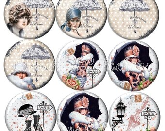 Set of 9 16mm glass cabochons, Lady of Paris, umbrella, vintage ZC232