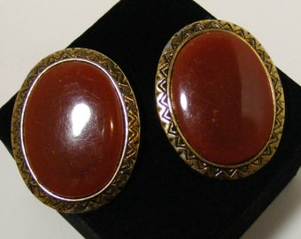 Vintage Carnelian Lucite Aztec Inspired Clip Earrings