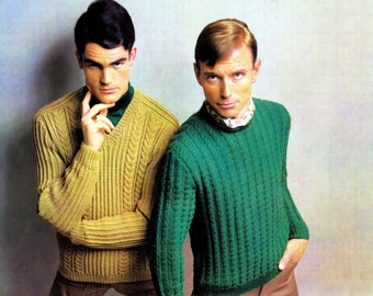 Two Man's Cable Knit Pullover PDF Vintage Pattern Reproduction V Neck Crew Neck Chest Sizes 38 to 44 Inches Digital Pattern Download