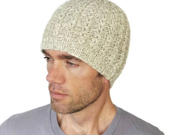 Mens Merino Beanie Taylor Oatmeal Cable Hat Hand Knit Beige Ivory Wool Size L