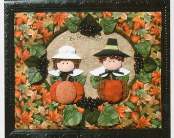 Thanksgiving Pilgrims Quilt Pattern  Thanksgiving Pumpkins Dimensional Quilt Pattern Wall Hanging Printable PDF Instant Download