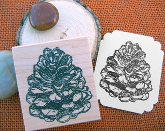 Pinecone Rubber Stamp - Handmade rubber stamp by BlossomStamps