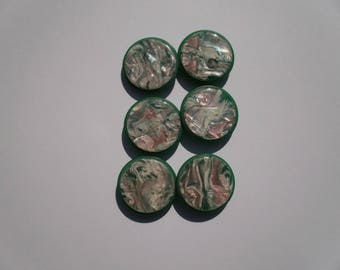 18 - Set of 6 green marbled buttons 2 cm