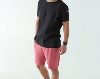 Mens linen shorts. Shorts for men. Summer shorts. Mans organic clothes. Beach shorts. Pink shorts. Gift for him. Natural shorts. 00MSyuN