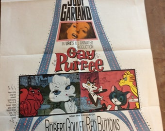 Gay Purr-ee movie poster Judy Garland, folded, original
