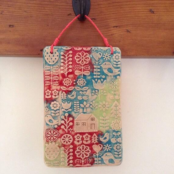 Handmade Ceramic Wall Hanging, folk art, scandi theme, home, house, pattern