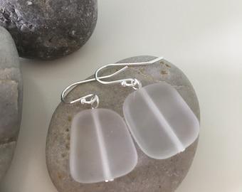 Sterling Silver Sea Glass Earrings- White/Clear Dangle