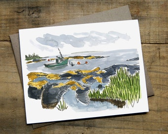 "Blue Rocks Card 4.25"" x 5.5"" Watercolour Blank Card with Envelope"
