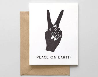 Peace On Earth Letterpress Greeting Card