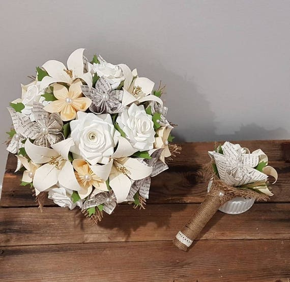 Cream and ivory harry potter book page flower bouquet
