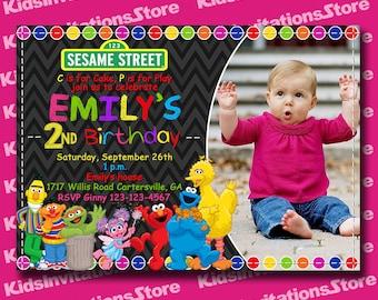 Girl Sesame Street Birthday Invitation-Sesame Street Invitation-Sesame Street Chalkboard Invitation-Abby Cadabby Invitaion-Digital-Printable