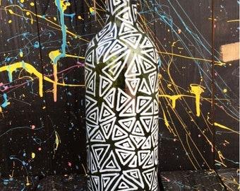 Lámpara de botella, triángulos, lámpara vintage, lámpara de techo,