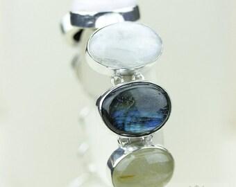 Healing Bracelet! LABRADORITE Moonstone RUTILE Quartz 925 S0LID Sterling Silver Bracelet & FREE Worldwide Express Shipping B690