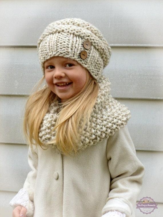 Niño niños Slouchy sombrero y bufanda capucha de punto a mano