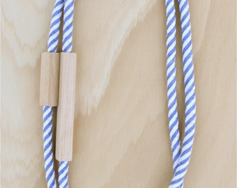 2 Piece - WOOD and FABRIC Necklaces -  Striped Cotton in Denim Blue