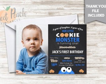 Cookie monster invitation etsy cookie monster 1st birthday invite invitation 7x5 digital personalized cookies chalkboard blue white a year of filmwisefo Gallery