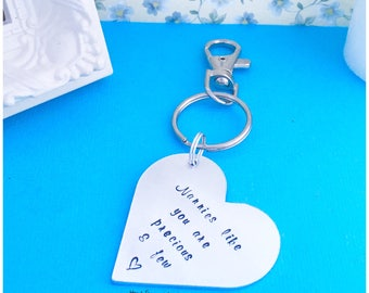 Mother's Day Keyring / Hand Stamped Keyring / Mother's Day Gift / Nana Nanny Granny Mum Gift / Heart Shaped Gift / Hand-Stamped Gift