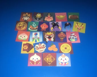 "OVERWATCH Stickers Year of the Rooster - Mini Stickers 1"" and 2"" - {YOU CHOOSE} - [Winter Wonderland Icons Available] Chinese New Year"