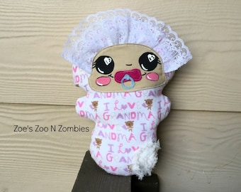 Handmade Soft Cuddly Large Baby Doll Softie  Toy Loving Dollie Softy Toddlers Christening Gift