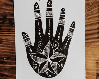 Nature's Hand - Lino | Block Print | Home Decor | Art Print | Handmade | Art