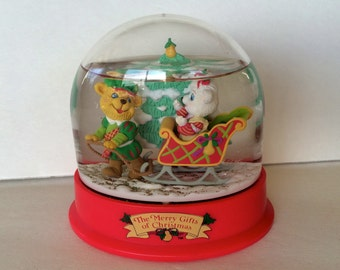 "Christmas Snow-globe Vintage Holiday Christmas Decorations Small Snow-globe Cute Animals Sledding Snow Scene ""The Merry Gifts of Christmas"