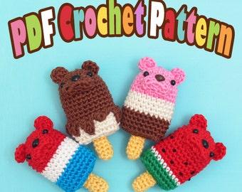 PDF Amigurumi / Crochet Pattern Ice Popsicle/Ice Cream Bar Bear CP-15-3272