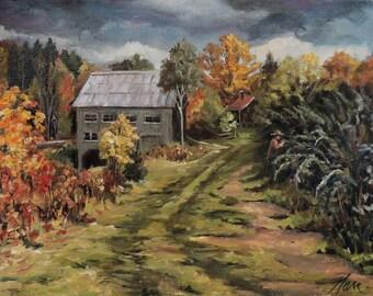 Raspberry Path Framed Oil Painting