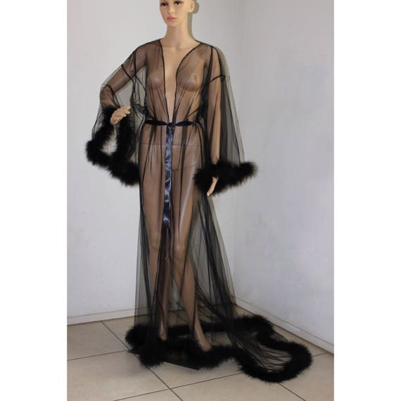 Giselle Black Sheer Robe With Fur Trim Satin Ribbon Ties