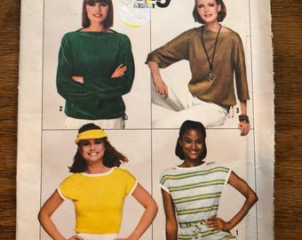Vintage 70s Simplicity 8088 Uncut Pullover Tops Sewing Pattern Size Small
