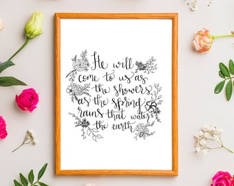 Spring Rains Bible Verse Print with Mat