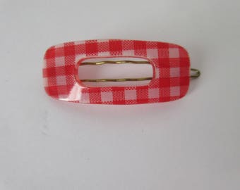 Vintage barrette gingham hair clip Simple red check small open plastic minimal  accessory rectangular boho chic clip mod modern Gift for her