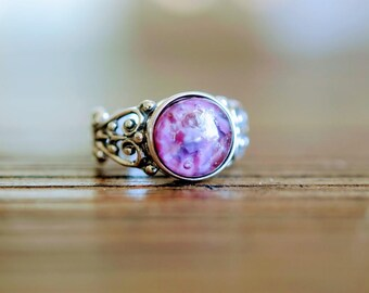 Wild Raspberry Sterling Silver Glass Cremation Memorial  Ring