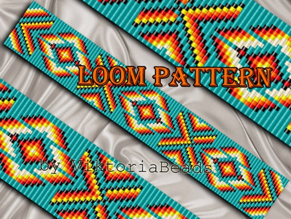 Bead Loom Pattern Bracelet Native American Square Stitch