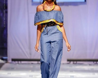 Off Shoulder Denim Jumpsuit with Wide Leg Pants and Ankara Flounce