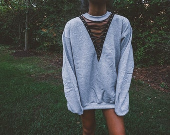Gray Lace Up Sweatshirt Hoodie Crewneck    Lace Up Top    Lace Up Shirt 9d0b15195