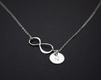 Personalized  infinity necklace- Figure 8 with initial discs -STERLING SILVER, Eternity necklace, Personalized Vertical Infinity necklace