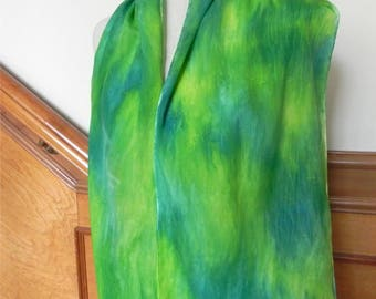 Spring green and yellow hand dyed crepe silk scarf is ready to ship, silk scarf #539