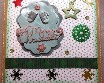 Christmas card small gloves green, white and green