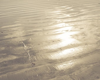 ocean sea water waves beach surf sand reflections sun light tranquil quiet sepia fine art photography