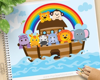 Noah's Ark Clipart, Bible Stories, Christian clip art, Jungle Animals, Hippo, Lion, Monkey, Commercial Use, Vector clip art, SVG Cut Files