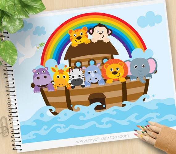 noah s ark clipart bible stories christian clip art rh etsy com Noah's Ark Black and White Real Pictures Noah Ark