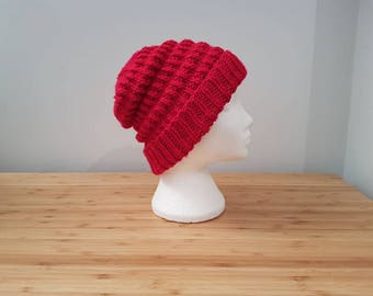 Chunky Red Ribbed Hat
