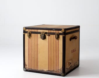 "vintage OshKosh ""Chief"" steamer trunk, square striped trunk"