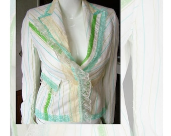Re-purposed vintage jacket shabby with lace ivory and candy stripes green blue size 6 - 8